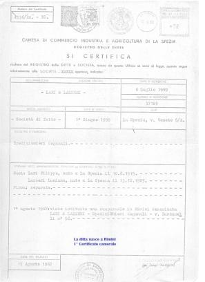 Primo Certificato Camerale
